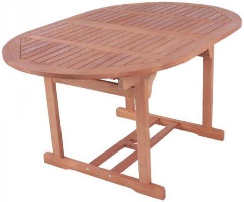macizo mesa de jardín, mesa extensible 150 – 200 cm ovalada, de alta calidad Bankirai Madera dura, barnizada: Amazon.es: Jardín