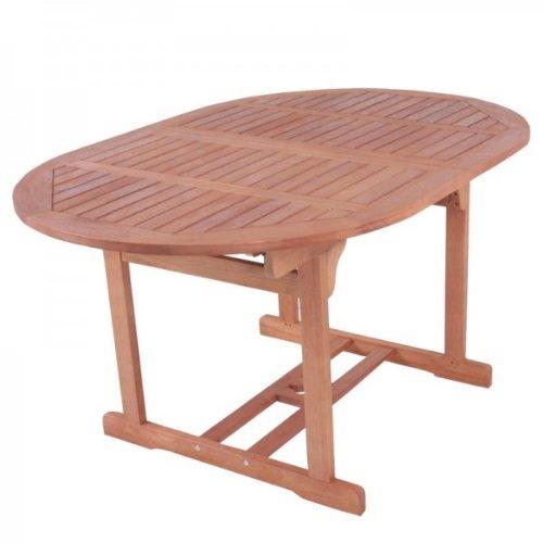 macizo mesa de jardín, mesa extensible 150 - 200 cm ovalada, de ...
