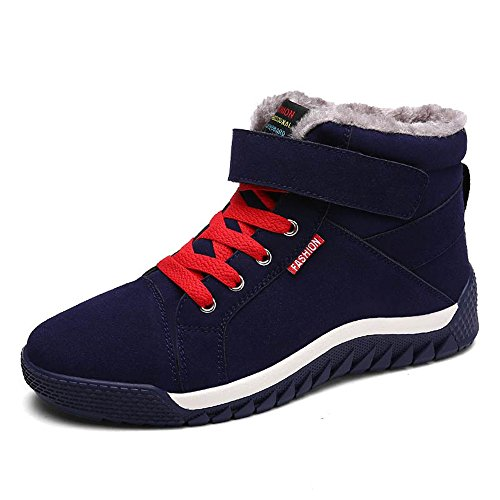JACKSHIBO Men Fur Lined Winter Snow Boots High Top Warm Sneakers,us9,Blue (Boot Flat Fine Leather)
