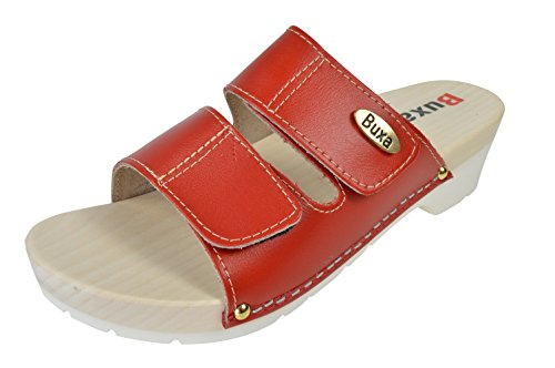 Ladies Natural Leather/Wooden Clog Sandals with Hook & Loop Strap, Rubber Sole Red