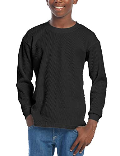 Pro Club Boy's Long Sleeve Thermal Top, Black, Large