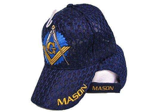 Mason Masons Freemason Masonic Lodge Dark Blue Shadow Mesh Texture Ball Cap 3D Hat (Shadow Dark Apparel)