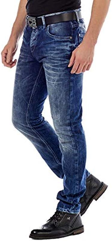 Cipo & Baxx dżinsy męskie spodnie Regular-Fit zmyte Denim spodnie męskie na czas wolny spodnie niebieskie W34 L34: Odzież