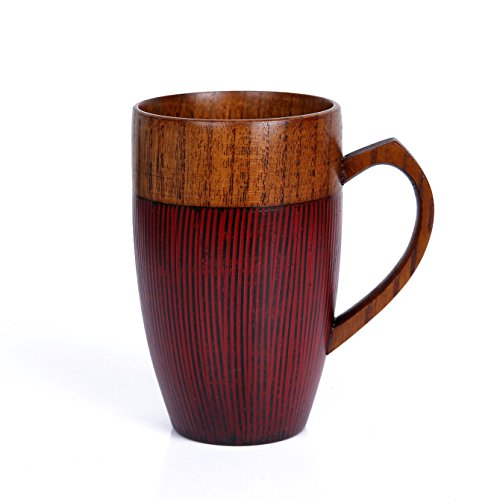 WOOD MEETS COLOR Mug Cup Handmade Wood with Heart Handle (Red 10 - Milford In Stores