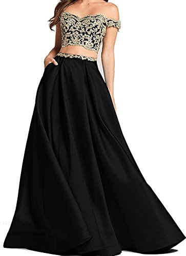 BessDress Two Piece Gold Lace Applique Prom Dresses 2018 Off The Shoulder Party Ball Gown BD450