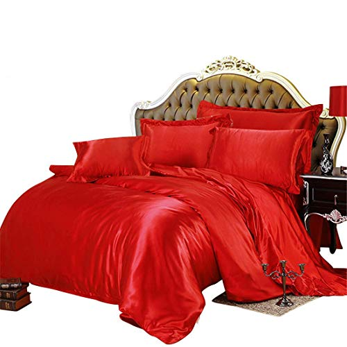 Best Bedding Store Luxurious Ultra Soft Silky Satin 4 Piece(1 Flat Sheet + 1 Fitted Sheet + 2 Pillow Cases) Bed Sheet Set with 19 inches Deep Pocket, Red, Queen