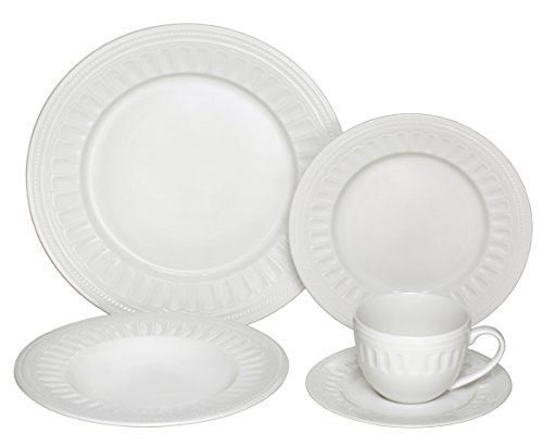 Saucers Cups Safe Oven (Melange 40-Piece Porcelain Dinnerware Set (English Lace) | Service for 8 | Microwave, Dishwasher & Oven Safe | Dinner Plate, Salad Plate, Soup Bowl, Cup & Saucer (8 Each))