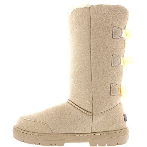 Snow Boots Classic Tall Waterproof Bow Beige Winter Triplet Rain Womens ptq0w8x