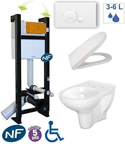 Pack WC suspendida Evo – sin Bride – Pack bâti-support Evo + cubeta sin brida + placa blanca Globe: Amazon.es: Bricolaje y herramientas