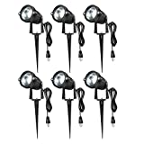 Romwish 5W COB LED Landscape Spotlights AC120V, Outdoor Waterproof Decorative Spike Pathway Lights with US Plug, 2700K Warm White, Metal Ground Stake, 59inch Cord with US Plug(6 Pack)