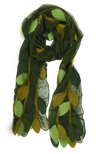 - Felted Merino Wool Silk Long Leaf Scarf Handmade Fair trade (Green)