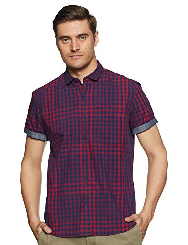 John Players Men #39;s Checkered Slim fit Casual Shirt