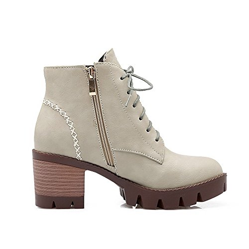 Allhqfashion Women's Zipper Round Closed Toe Kitten Heels Pu Low Top Boots Gray jtuop0I