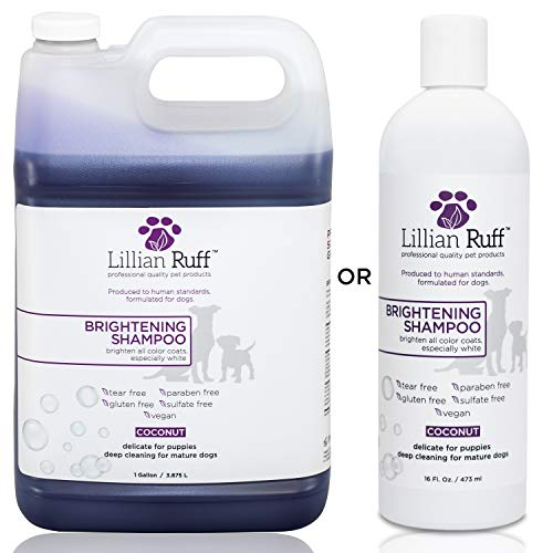 Lillian Ruff Brightening & Whitening Shampoo for Dogs - Tear Free Coconut Scent with Aloe for Normal, Dry & Sensitive Skin - Adds Shine & Luster to Coats (Gallon) ()