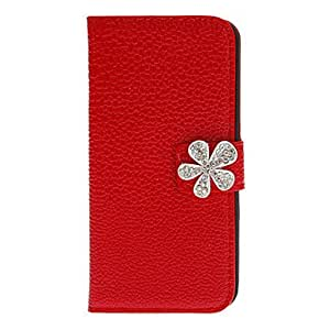 RC - PU Full Body Case with Diamond Babysbreath Button and Card Slot for iPhone 5/5S (Assorted Colors) , Black