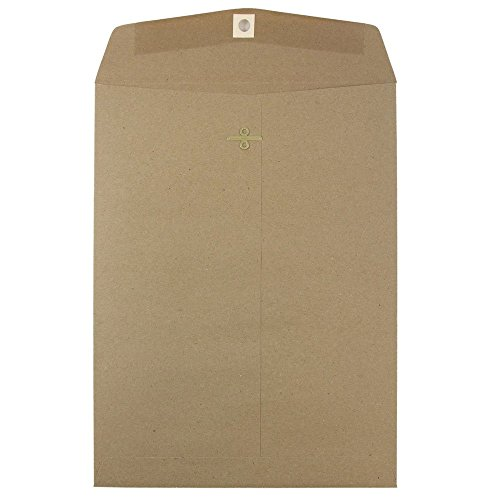 "JAM Paper 9"" x 12"" Open End Envelopes with Clasp Closure - Brown Kraft Paper Bag Recycled - 10/pack"