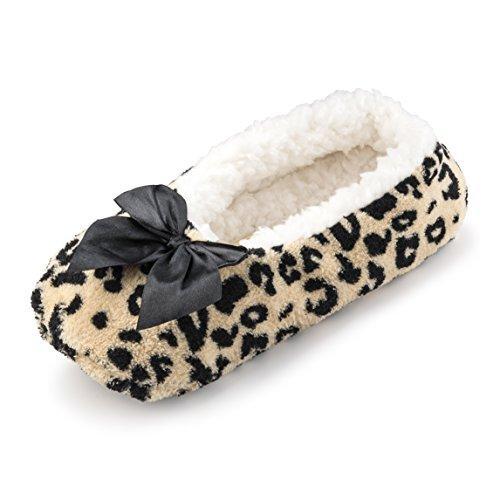 Cartoon Club Fuzzy Fleece Huis Slippers Voor Vrouwen W / Sherpa Voering | Comfortabele Ballerina Indoor Schoenen Luipaard Print