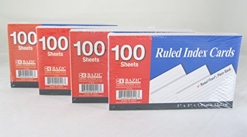 UPC 053799105265, 4 Pk, Bazic Ruled Index Card 3in X 5in 100 Sheets Each Set.
