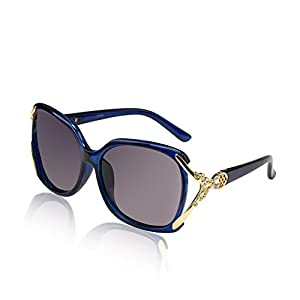 Ladies Rectangle Square Sunglasses Polaroid Eyewear Bling Crystal Butterfly Blue