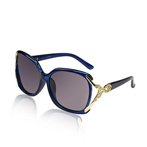 Ladies Rectangle Square Sunglasses Polaroid Eyewear Bling Crystal Butterfly (Crystal Blue Sunglasses)