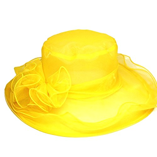 ICSTH Womens Kentucky Derby Summer Wide Brim Organza Church Party Hats Yellow