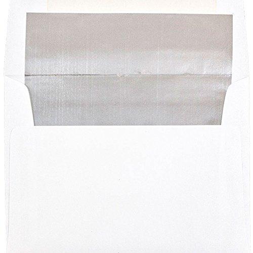 JAM PAPER 6 1/4 x 8 1/4 Foil Lined Invitation Envelopes - White with Silver Foil - 50/Pack
