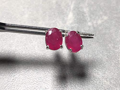 (6x8mm Faceted Natural Ruby Oval Gemstones and Sterling Silver Post Earrings)