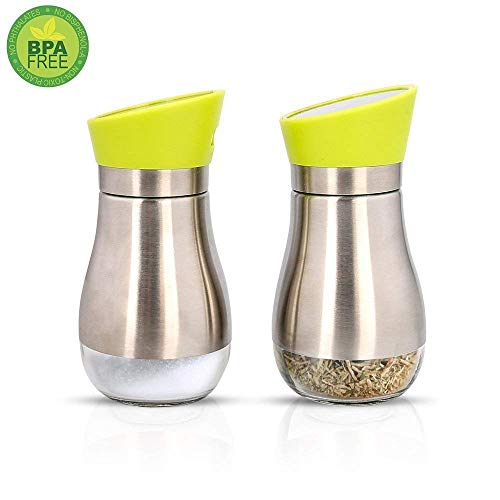 (Spices Shaker Bottle,Salt and Pepper Shakers-Condiment Container Reusable Dispenser,BBQ Gadget,180 Degree Rotation Cap Clear Glass Bottom Design,for Your Modern Home Kitchen(2 small Spice Shakers))