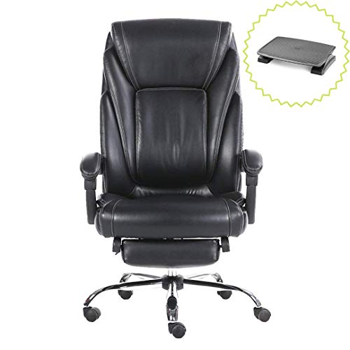 Halter HAL-090 Executive Bonded Leather Office Chair, Home & Office Reclining Computer Desk Chair, Leg Support & Chrome Base - with Bonus Footrest - Black