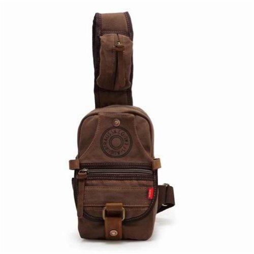 OFTEN Canvas Sling Bag, Vintage Shoulder Chest Messenger Bag with Pockets Unisex Cross Body Bag Backpack Rucksack (Coffee)