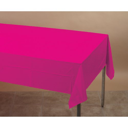 Creative Converting Touch of Color Plastic Lined Table Cover, 54 by 108-Inch, Hot Magenta ()