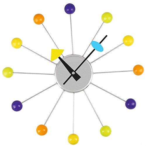 Soledi 14 inch Creative Design Wall Clock with Colorful Wooden Balls Precision Quartz - Clock Office Post
