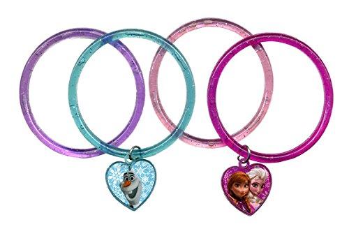 (Disney Frozen 4 Ring Bracelets with Heart Charm-1 Set)