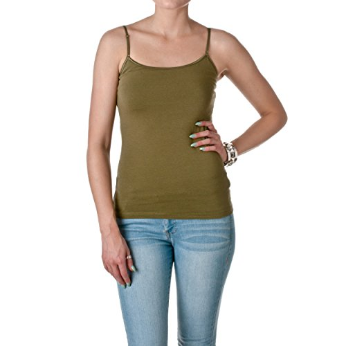 Stretch Cotton Bra Camisole (Cami Camisole Built in Shelf BRA Adjustable Spaghetti Strap Tank Top (Small,)