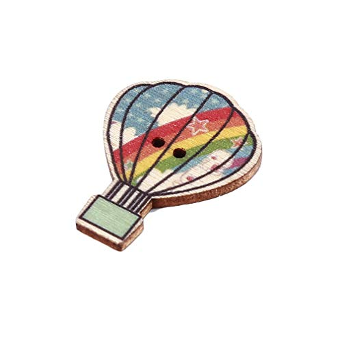 Button Balloon - Sevenfly 50 pcs Hot Air Balloon Colorful Wood Button for Handmade Crafts Clothes Decoration