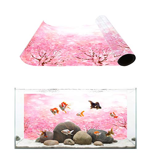 Fantasy Star Aquarium Background Romantic Pink Sakura Fish Tank Wallpaper Easy to Apply and Remove PVC Sticker Pictures Poster Background Decoration 12.4