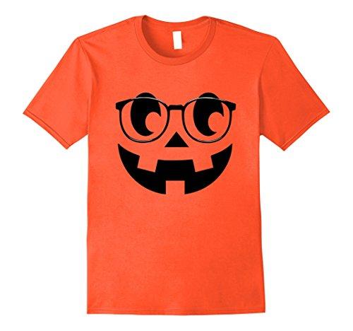 Mens Jack-O-Lantern Nerdy Pumpkin Halloween Costume T-Shirt v2 Medium Orange