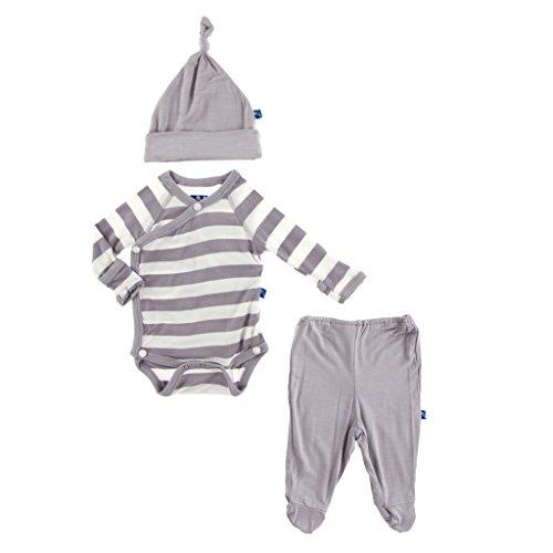 KicKee Pants Essentials Kimono Newborn Gift Set with Elephant Box, Unisex-Feather Contrast Stripe, 3-6 Months (Stripes Box Set)