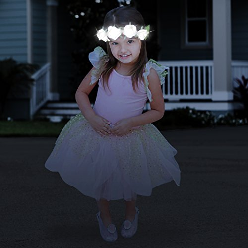 Mia Flashion Flowers, LED Lighted Headband Hair Accessory, White Roses, White Lights, for Women, Girls, Halloween, Easter, Parties, Nighttime Fears 1pc