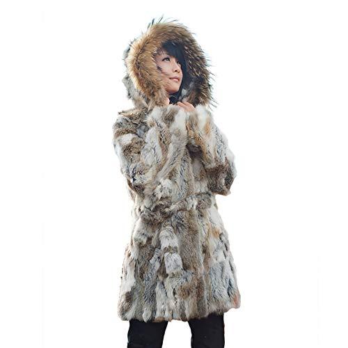 Women's Genuine Rabbit Fur Coat with Raccoon Fur Trim Hood Winter Fur Jacket,14