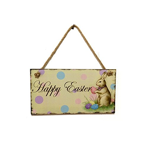 ROOVON Easter Bunny Rabbit Hanging Board Easter Plaque Easter Gift for Home Office Bar Shop Decor Display. -