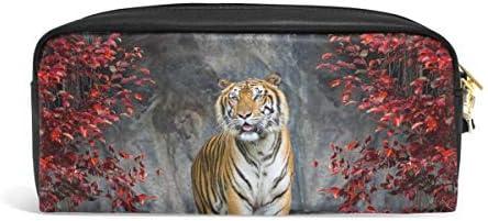 Domoko Animal Tiger - Estuche de piel sintética para lápices, maquillaje, cosméticos, viajes, escuela: Amazon.es: Oficina y papelería