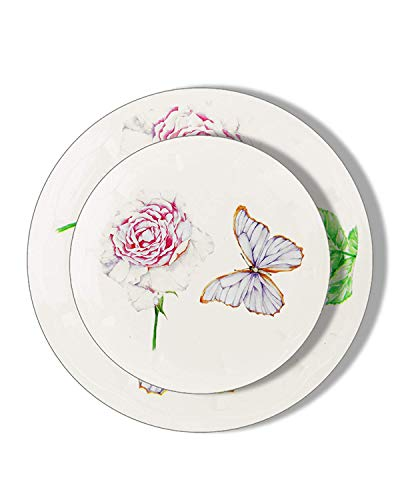 PartyPiks Butterfly Party Plates - Disposable Plastic Dinnerware Party Supplies - Real China Look - Hard and Reusable (18 Piece Pack - Ivory - 9 Inch Round) ()