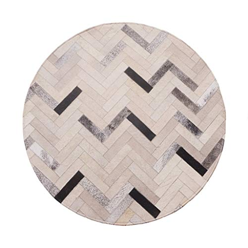 Rugs Rug Round Carpet Luxury Cowhide Couture Slip Easy to Manage Living Room Bedroom Coffee Table Children's Room (Size : Diameter 1.6m) ()