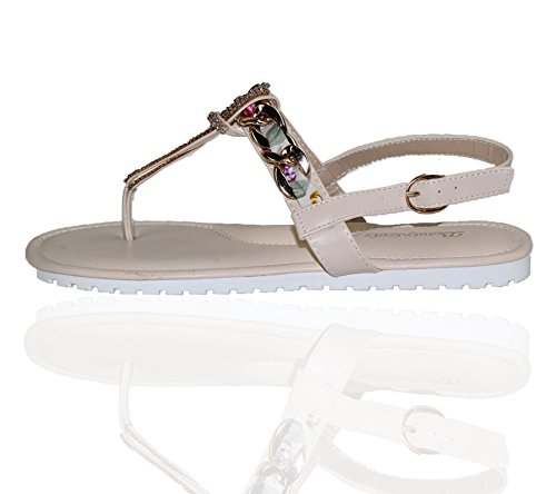 KOLLACHE Womens Buckle Flat Summer Caual Diamonte Ladies Evening Party Sandals Beige NbbjCjh3