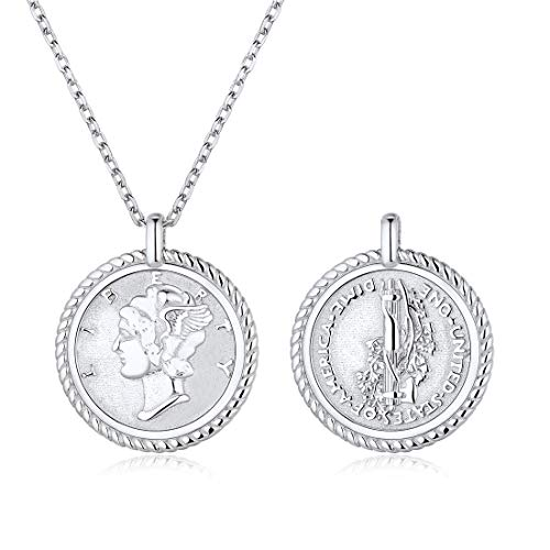 - Coin Necklace 925 Sterling Silver Coin Round Medallion Pendant Necklace Vinatge Jewelry for Women Men
