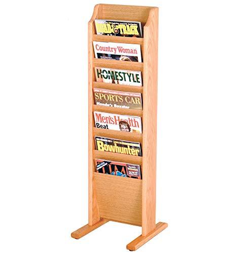 (Offex Cascade Free Standing 7 Pocket Magazine Rack, Light Oak)