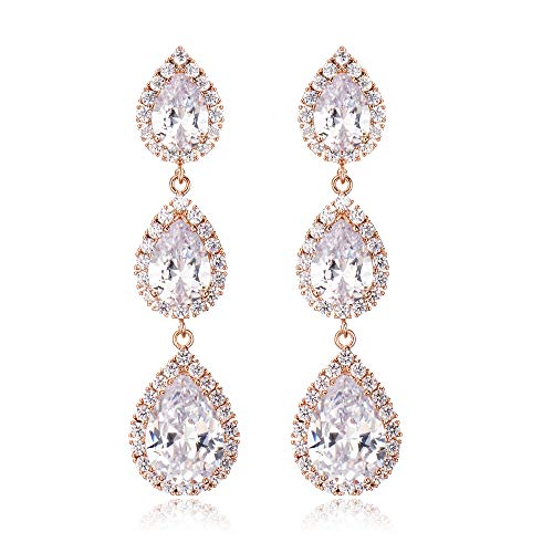 (IDesign CZ Earring for Women Long Teardrop Rose Gold Wedding Chandelier Dangle Earrings Elegant Dangle Earrings Zircon Crystal Long Drop Earrings for Brides Party Birthday(Rose Gold))