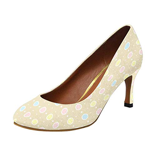 (INTERESTPRINT Womens High Heels Comfort Pumps Colorful Polka Dots 6 B(M) US)