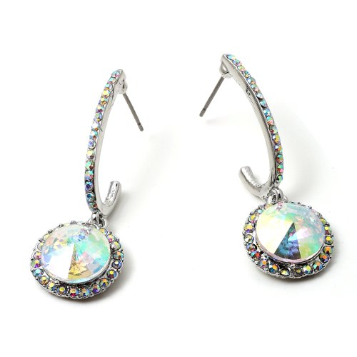 (Silver Aurora Borealis Rhinestone in J Hook with Dangle Aurora Borealis Stone Earrings)